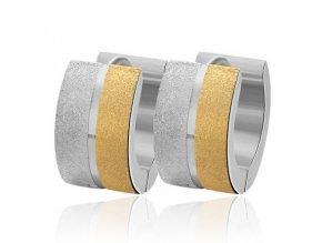 Náušnice z ocele, pieskované pásy a ryha, zlatá a strieborná farba (1)