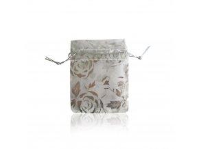 Biele darčekové vrecúško na šperk, ruže striebornej farby