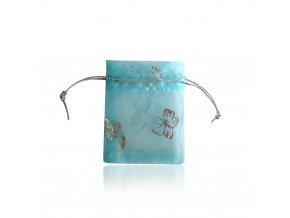 Blankytné darčekové vrecúško na šperk, motýle striebornej farby