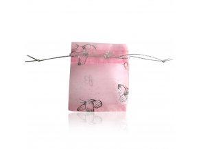 Darčekové vrecúško ružovej farby, motýle