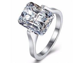 Zásnubný prsteň z ocele striebornej farby, číry brúsený kamienok Solitér (1)