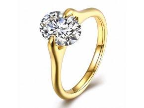 Zásnubný prsteň z ocele zlatej farby, číry oválny kamienok - Solitér