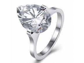 Zásnubný prsteň z chirurgickej ocele striebornej farby, číra slza Solitér (1)