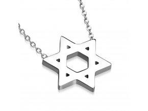Náhrdelník na krk z ocele, Dávidova hviezda, strieborná farba (1)