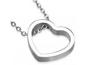 Dámsky náhrdelník na krk so srdcom, strieborná farba, oceľ (1)