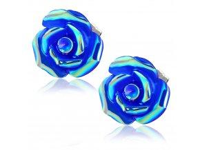 Dámske náušnice s kvetom, modrá farba, chirurgická oceľ