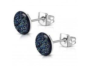 Puzetové náušnice z ocele, trblietky striebornej a modrej farby