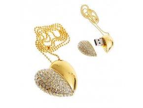 USB šperk pre ženu, srdce zlatej farby farby s čírymi zirkónmi 8 GB
