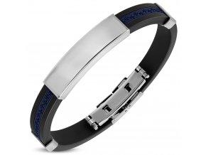 Náramok na ruku, guma a oceľ, hladká známka, grécky kľúč modrej farby