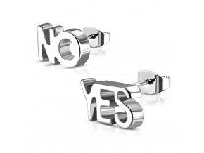 """Puzetové náušnice pre ženu striebornej farby, oceľ, nápis """"YES"""" a """"NO"""""""