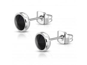 Náušnice z ocele pre ženu s čiernym zirkónom, strieborná farba - 6 mm