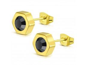Dámske náušnice z chirurgickej ocele s čiernym zirkónom, zlatá farba