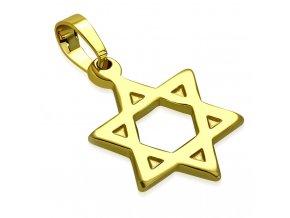 Prívesok na retiazku, Dávidova hviezda zlatej farby, chirurgická oceľ