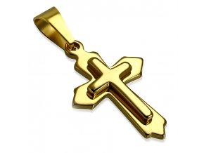 Menší prívesok z chirurgickej ocele, kríž na retiazku, zlatá farba
