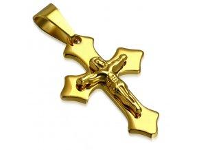 Prívesok kríž zlatej farby z chirurgickej ocele, Ježiš na kríži