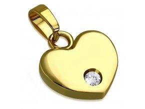 Prívesok na retiazku z ocele zlatej farby, 3D srdce so zirkónom