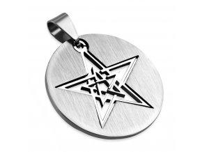 Prívesok pentagram z ocele, strieborná farba, okrúhla známka
