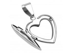 Medailón na fotky, 3D srdce z chirurgickej ocele, strieborná farba