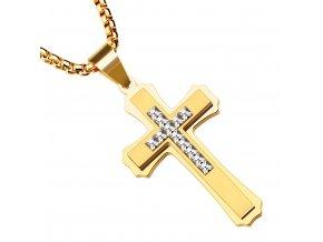 Pánska retiazka s krížom z ocele, zlatá farba a číre zirkóny