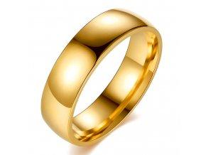 Svadobná obrúčka pre pre muža, chirurgická oceľ lesklej zlatej farby (1)