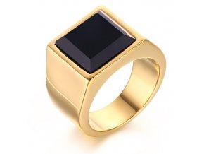 Pečatný prsteň z chirurgickej ocele s čiernym kamienkom, zlatá farba (1)