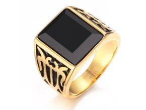 Pánsky pečatný prsteň s čiernym kamienkom, oceľ zlatej farby, gravírovanie (1)