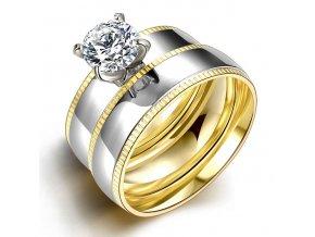 Dvojitý dámsky prsteň z ocele so zirkónom, dve farby, gravírovanie (1)