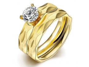 Dvojitý dámsky prsteň z ocele so zirkónom, matná zlatá farba, zárezy (1)