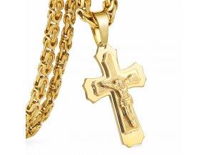 Retiazka s krížom pre muža z ocele, zlatá farba, Ježiš a modlitba (1)