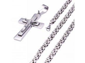 Pánska retiazka s krížom, strieborná farba, oceľ, Ježiš a nápis (1)