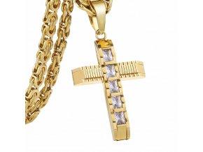 Pánska retiazka s krížom, kráľovský vzor, oceľ zlatej farby, číre zirkóny (1)