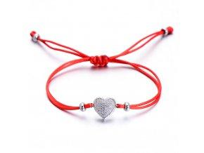Červený náramok, srdce striebornej farby so zirkónmi bižutéria (1)