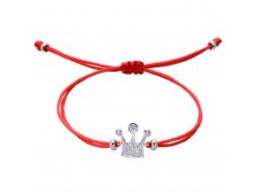 Červený náramok, korunka so zirkónmi, strieborná farba bižutéria (1)