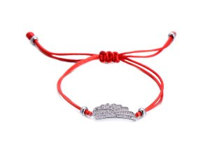 Červený náramok, krídlo striebornej farby so zirkónmi bižutéria