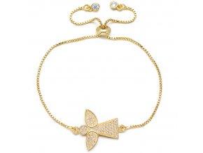 Dámsky náramok so zirkónmi, anjel zlatej farby bižutéria (1)