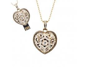 USB šperk pre ženu, náhrdelník s Vintage srdcom - 8 GB