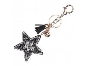 Prívesok na kabelku, čierna hviezda s kamienkami, strapec a gulička (1)