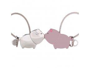 Kľúčenky pre dvoch, zamilované prasiatka, lanko, matná ružová farba (1)