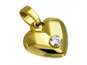 Prívesok na retiazku, 3D srdce z ocele zlatej farby, číry zirkón (1)