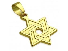 Prívesok Dávidova hviezda s gravírovaním, oceľ zlatej farby (1)