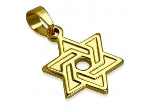 Prívesok Dávidova hviezda s gravírovaním, chirurgická oceľ zlatej farby (1)
