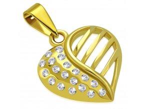 Prívesok srdce z ocele zlatej farby, číre zirkóny a výrezy