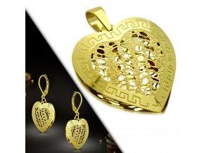 Dámske náušnice a prívesok zlatej farby, 3D srdce z ocele, grécky kľúč