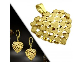 Dámske visiace náušnice a prívesok zlatej farby, 3D srdce z ocele