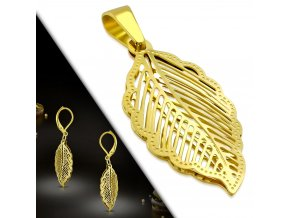 Dámske visiace náušnice a prívesok zlatej farby, 3D lístok z ocele