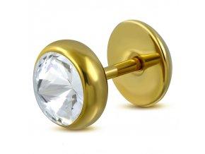 Fake plug z chirurgickej ocele so zirkónom, zlatá farba (1)