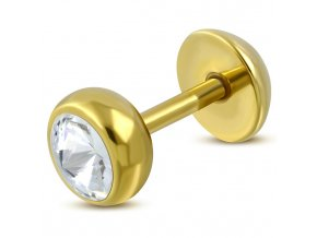 Fake plug zlatej farby so zirkónom, chirurgická oceľ (1)