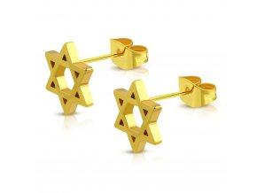 Puzetové náušnice s Dávidovou hviezdou, oceľ zlatej farby