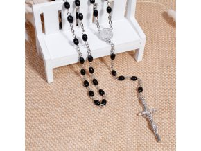 Ruženec na krk s krížom, Ježíš Kristus čierna farba