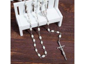 Ruženec na krk s krížom, Ježíš Kristus perleťová farba